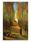 Autumn Tree Lined Lane Leading to a Farm House Kunst von Vincent van Gogh