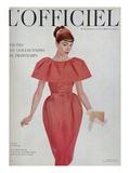 L'Officiel - Robe de Jean Patou en Faille de Soie Naturelle d'Hurel, Bijoux de Van Cleef et Arpels Posters tekijänä Philippe Pottier