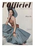L'Officiel, June 1952 - Robe de Plage de Grès Shantung Turquoise de Jacques Léonard en Cte Posters tekijänä Philippe Pottier