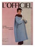 L'Officiel, October 1955 - Balenciaga, Manteau Sept-Huitièmes en Velours Côtelé Julisteet tekijänä Philippe Pottier