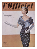L'Officiel, April 1954 - Jacques Fath, Robe en Gaze Aléoutienne, Imprimée de Staron Posters tekijänä Philippe Pottier