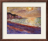 Beach at Pourville, Sunset, 1882 Impressão giclée emoldurada por Claude Monet