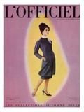 L'Officiel, September 1959 - Robe de Christian Dior en Grizki de Lesur Posters tekijänä Philippe Pottier
