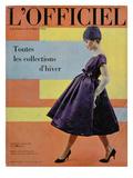 L'Officiel, October 1958 - Robe de Cocktail de Givenchy, Chapeau Exécuté en Voilette de Soie Julisteet tekijänä Philippe Pottier