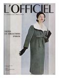 L'Officiel, October 1956 - Givenchy, Manteau en Velours Côtelé de Gerondeau Juliste tekijänä Philippe Pottier