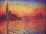 San Giorgio Maggiore by Twilight, Dusk in Venice, c.1908 Prints by Claude Monet
