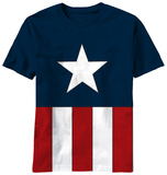 Captain America - Tee Caps (Cut and Sew) Camiseta
