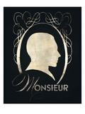 Monsieur Silhouette Kunstdrucke von Lisa Vincent
