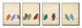 Ontmoeting tussen vogels, vierluik Posters van Patricia Quintero-Pinto