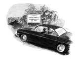 Couple in car approach road sign reading: 'Entering Exotic, Erotic Merwins… - New Yorker Cartoon Premium Giclee Print by Stan Hunt
