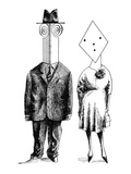 Couples and individuals with unusually shaped faces. - New Yorker Cartoon Premium Giclee Print by Saul Steinberg