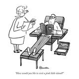 """How would you like to visit a pink little island"" - New Yorker Cartoon Reproduction giclée Premium par Boris Drucker"