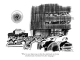 """What is most depressing is that these platitudes are being simultaneously…"" - New Yorker Cartoon Premium Giclee Print by Kenneth Mahood"