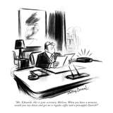 """Mr. Edwards, this is your secretary, Melissa. When you have a moment, wou…"" - New Yorker Cartoon Reproduction giclée Premium par Jr., Whitney Darrow"