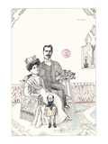 Family portrait with a small bearded man dressed as a child. - New Yorker Cartoon Premium Giclee Print by Saul Steinberg