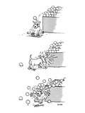 3 drawings of a dog. He is hit by an orange from a market display, barks a… - New Yorker Cartoon Reproduction giclée Premium par George Booth