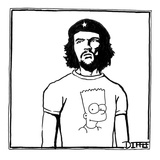 Che Guevara wearing a Bart Simpson T-shirt. - New Yorker Cartoon Premium Giclee Print by Matthew Diffee