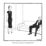 """Does this dress make me look Republican"" - New Yorker Cartoon Reproduction giclée Premium par Matthew Diffee"