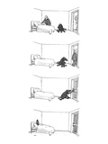 Four drawings; Man makes bed, as dog watches.  Man leaves room. Dog locks … - New Yorker Cartoon Reproduction giclée Premium par George Booth