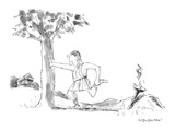 Ancient Greek runner, with Olympic torch, pauses to stretch his leg muscle… - New Yorker Cartoon Premium Giclee Print by James Stevenson