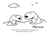 """It's just a theory, but perhaps it's their opposable thumbs that makes th…"" - New Yorker Cartoon Reproduction giclée Premium par Charles Barsotti"