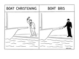 Man in left panel christens boat with wine bottle. In right panel, rebbe/r… - New Yorker Cartoon Premium Giclee Print by Alex Gregory