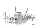 New boat owner is painting 'My First Boat' on the stern of his small yacht… - New Yorker Cartoon Premium Giclee Print by Jack Ziegler