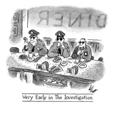 Very Early in the Investigation': three cops sip coffee and enjoy donuts … - New Yorker Cartoon Impressão giclée premium por Frank Cotham
