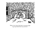 """When I can't sleep, I find that it sometimes helps to get up and jot down…"" - New Yorker Cartoon Premium Giclee-trykk av Drew Dernavich"