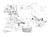 Dog carries crutch to skier with cast on leg. - Cartoon Giclee Print by Bernard Schoenbaum