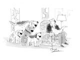 Four dogs overwhelm a relaxed man. All want to play fetch. - Cartoon Giclee Print by Bernard Schoenbaum
