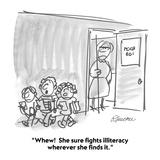 """""""Whew!  She sure fights illiteracy wherever she finds it."""" - Cartoon Reproduction procédé giclée par Boris Drucker"""