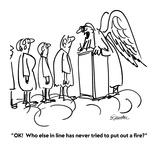 """""""OK!  Who else in line has never tried to put out a fire"""" - Cartoon Reproduction procédé giclée par Boris Drucker"""