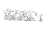Woman spraying insectidice at 'buzzwords' being spoken at party. - Cartoon Giclee Print by William Haefeli