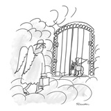 Exec finds growling dog/angel defending heaven's gate. - Cartoon Reproduction giclée Premium par Boris Drucker