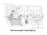 """May I be excused  I need to light up."" - Cartoon Giclee Print by Bernard Schoenbaum"