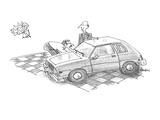 Man admiring car in showroom is about to be struck by arrow from cupid as … - Cartoon Giclee Print by William Haefeli