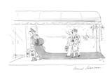 Vacationing couple enter their hotel behind a doorman whose backpack unrol… - Cartoon Giclee Print by Bernard Schoenbaum