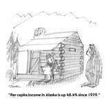 """Per capita income in Alaska is up 48.4% since 1979.""  - Cartoon Reproduction giclée Premium par Boris Drucker"