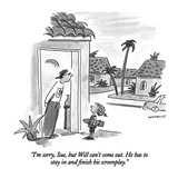 """""""I'm sorry, Sue, but Will can't come out.  He has to stay in and finish hi…"""" - New Yorker Cartoon Reproduction giclée Premium par Liza Donnelly"""