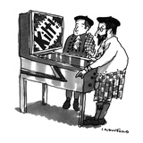Kilt-wearing Scotsmen are playing a pinball machine; it flashes 'Kilt!' in… - New Yorker Cartoon Premium Giclee Print by Michael Crawford