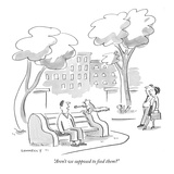 """""""Aren't we supposed to feed them"""" - New Yorker Cartoon Reproduction giclée Premium par Liza Donnelly"""