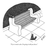 """""""Try to remain calm. I'm going to talk you down."""" - New Yorker Cartoon Reproduction giclée Premium par J.C. Duffy"""