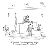 """If you would, Peter, please stand and point to the person you know as Mr.…"" - New Yorker Cartoon Premium Giclee Print by Michael Maslin"