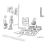 Man on street corner selling leaves from different states, with sign that … - New Yorker Cartoon Reproduction giclée Premium par Liza Donnelly