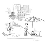 Street vendor with sign on stand that reads, 'Hose You Off $2,'  sprays wo… - New Yorker Cartoon Reproduction giclée Premium par Liza Donnelly