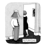A man stands near the entryway of a room with a lampshade on his head. He … - New Yorker Cartoon Reproduction giclée Premium par J.C. Duffy