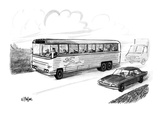 Bus filled with Greyhound dogs, with the logo of a running man. - New Yorker Cartoon Premium Giclee Print by Warren Miller