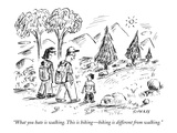 """What you hate is walking. This is hiking—hiking is different from walking."" - New Yorker Cartoon Premium Giclee Print by David Sipress"
