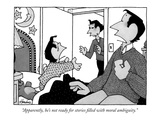 """""""Apparently, he's not ready for stories filled with moral ambiguity."""" - New Yorker Cartoon Premium Giclee Print by William Haefeli"""